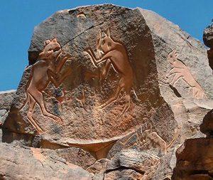 Wadi Methkandoush cats - Sahara Desert, ca. 10,000 BC (modern Libya)