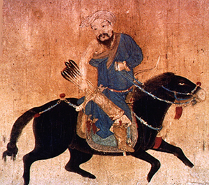 A Central Asian man riding a black horse wearing a blue robe