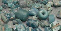 Blue-green glass trade beads