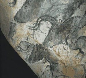 cave painting of a herd of aurochs - look like bulls or cows