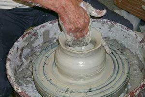 Clay on a potter's wheel