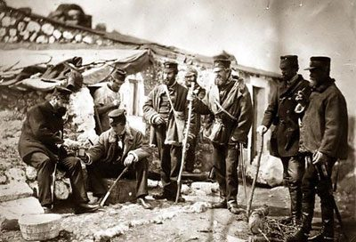 old photo of Crimean War soldiers