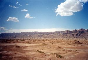 Gobi desert - wind-blown sand and blue sky