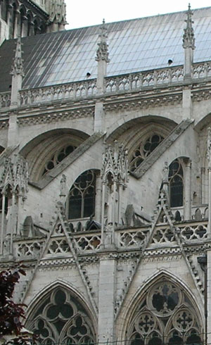 Flying Buttresses The Side Of A Big Stone Cathedral Like Bridges Between Nave
