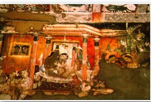 Fresco painting from Ajanta temple complex, India