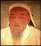 Central Asian man with a long wispy gray beard and a cap with earflaps