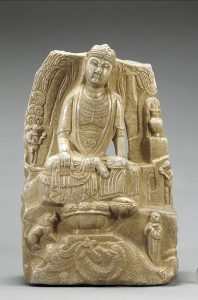 a marble carving of a woman in robes with a dragon and other figures