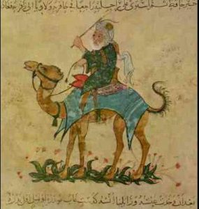 Painting of a white man in a turban, riding on a camel - Ibn Battuta