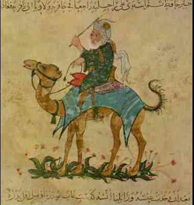 Painting of a white man in a turban, riding on a camel