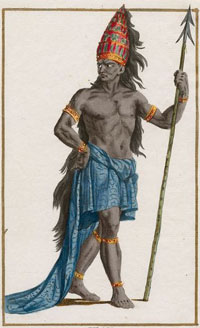drawing of a black man wearing a blue skirt and carrying a spear