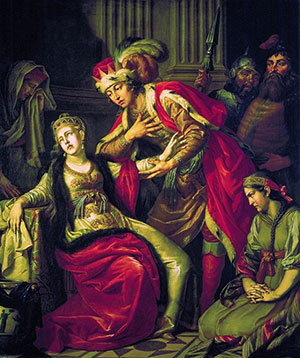 painting of a man and a woman in purple and green robes