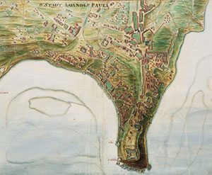 old map showing a few scattered houses on the peninsula