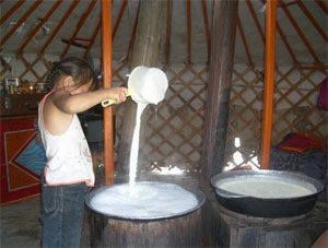a brown-skinned girl pouring yogurt from a cup into a big pot of milk