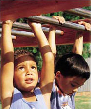 two kids hanging from monkey bars