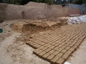 Mud brick drying in the sun