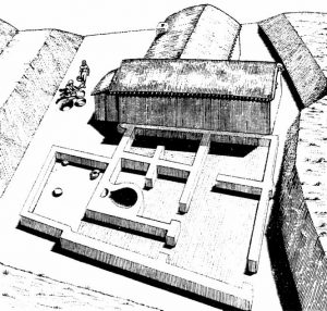 Neolithic house in Iraq (the houses are ruined so you can only see the bottom of the walls)