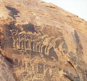 Rock carving of giraffes. Tenere Desert (modern Niger), 10,000-7000 BC