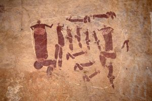 San Rock Art - people doing a sacred dance