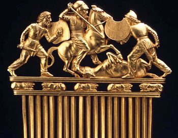 Scythian gold comb, with scene of men fighting on it, from Central Asia