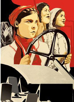 Soviet poster with women driving and working