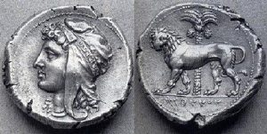 Head of Tanit on Carthaginian silver coin