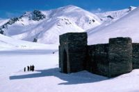 a fort in snowy mountains