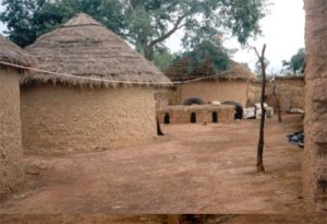 A thatched roof on a mud-brick house in West Africa