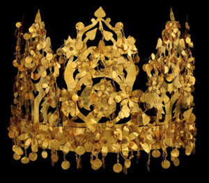 a gold crown made of lots of small pieces