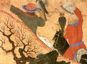 Chinese-Islamic painting of two men hunting with falcons on horses