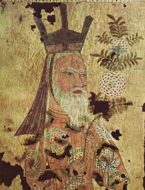 painting of an old man with a crown