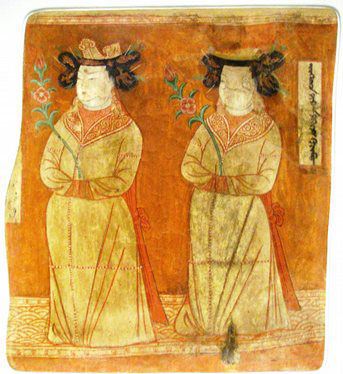 painting of two white women in long yellow robes holding flowers
