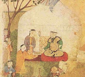painting of a man with attendants in a yurt