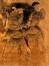 drawing of Khitan women wearing tunics and pants leading a horse