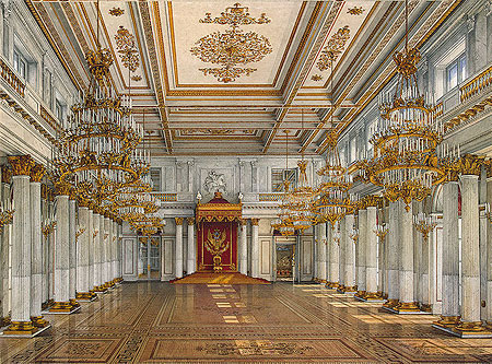 Winter Palace, inside a splendid room with white and gold decoration