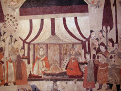 painting of women sitting under a tent or canopy