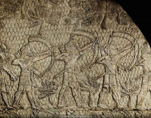 Assyrian archers during the siege of Lachish, Israel. Stone bas-relief from the palace of Ashurbanipal in Nineveh, Iraq