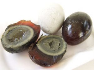 Thousand year old eggs have green yolks and brown whites