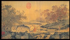Chinese landscape painting with three men representing Confucianism, Taoism, and Buddhism - the Chinese philosophers