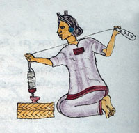 an Aztec woman spinning cotton