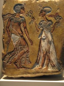 Egyptian painted carving of a man and a woman