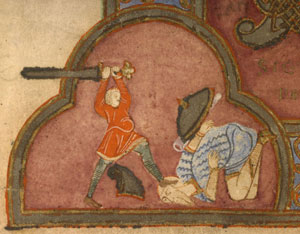 Battle, ca. 800s AD (Boulogne-sur-Mer Bib. Mun. MS. 20)