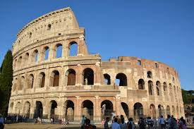 Roman Colosseum - a stone amphitheater, half ruined