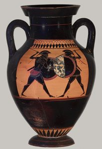 Two men fight on an Athenian black-figure vase