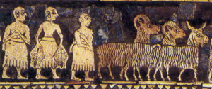 Shepherds on the Royal Standard of Ur (2000 BC)