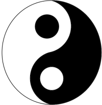 a yin/yang symbol, white with a black dot on one side, and white with a black dot on the other side