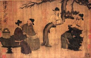 Chinese painting of a group of men talking under a tree
