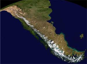 Satellite view of the Andes mountains with snow on them