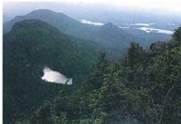 The Appalachians: low mountains covered with pine trees and a lake