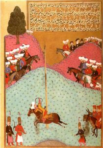 Miniature painting of men riding horses around a tall post and shooting arrows