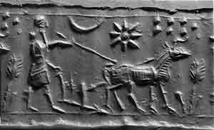 cylinder seal impression of a man plowing behind a donkey